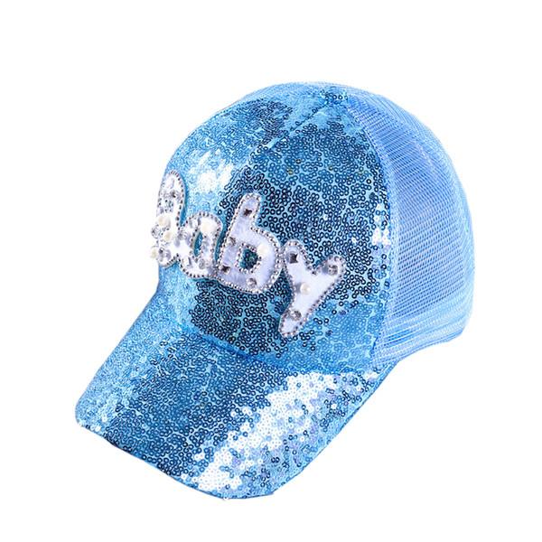 Women Gorras Casquette Baseball Cap Shining Sequins Letter Baby Decor Snapback Caps Hip Hop Hat Sun Visor Mesh Hats Net Headgear