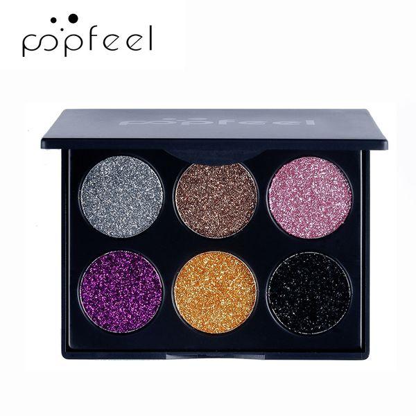 POPFEEL 6 Color Eyeshadow Eye Shadow Glitter Stage Fashion Shimmer Nude Eyes Shadow Metallic Waterproof Long Lasting Makeup Powder Cosmetics