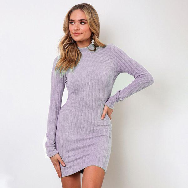 Frauen Winter Herbst Strickkleid Sexy O-Ansatz dünnen Taille Mantel Langarm festes Kleid-elegante Partei Mini 2019 Vestido