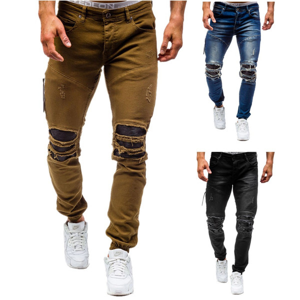 2017 New arrival CosMaMa Brand factory designer slim fit fashion ripped knee leather torn cool damaged biker jeans pants for men