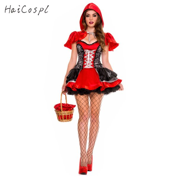 ostumes Acessórios Cosplay Fantasias Little Red Riding Hood Traje Halloween Vestido Adulto Mulheres Festa Do Festival Fancy Suit Fairy Tale Cosp ...