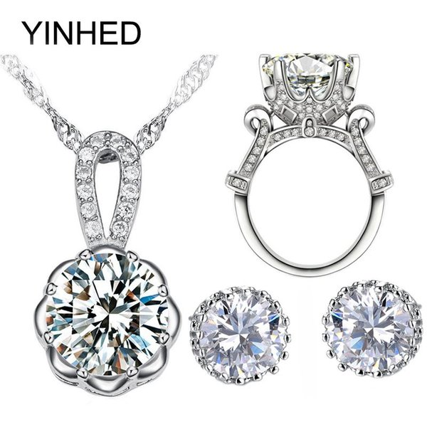 whole saleYINHED 925 Sterling Silver Bridal Jewelry Sets 4CT Big CZ Diamant Stud Earrings Necklace Ring Sets Women Wedding Jewelry ZS045