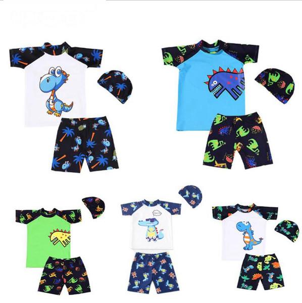 Children Boy Swimsuits Cartoon Dinosaur Boys Tops Shorts Cap 3pcs Sets Kids Swim Suits Summer Swimwear 6 Designs DW4969