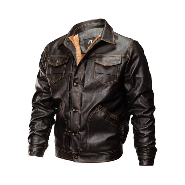 Winter PU Leather Pilot Jackets Men Casual Tactical Fleece Bomber Jacket Windbreaker Clothes Motorcycle Jacket