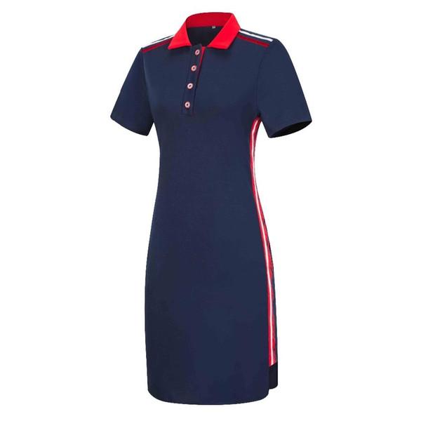 Women Plus Size Short Sleeves Polo T Shirt Top Stripe Bodycon Midi Pencil Dress T190608
