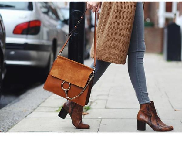 2018 Nubuck Genuine Leather Shoulder Cowhide Circle Chain Handbag Flap Shoulder Bag Messenger Bags Party Women Ladies Handbags