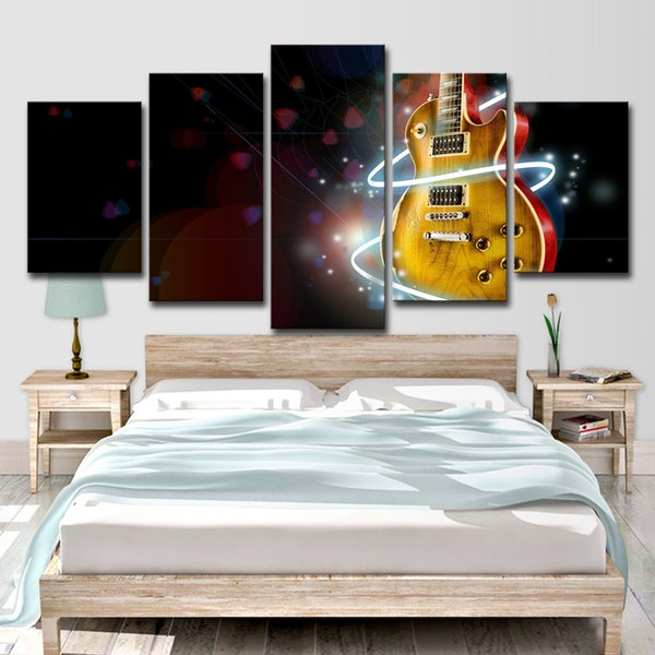 HD Printed 5 Piece Canvas Art Abstract Cool Guitar Painting Music Aperture Wall Pictures For Living Room Free Shipping