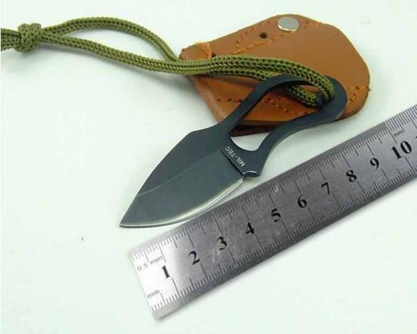 Venta al por mayor nuevo pequeño cuchillo de bolsillo con cubierta de cuero deportes al aire libre Camping Senderismo Supervivencia Autodefensa EDC Tactical Gear Accesorios FT07