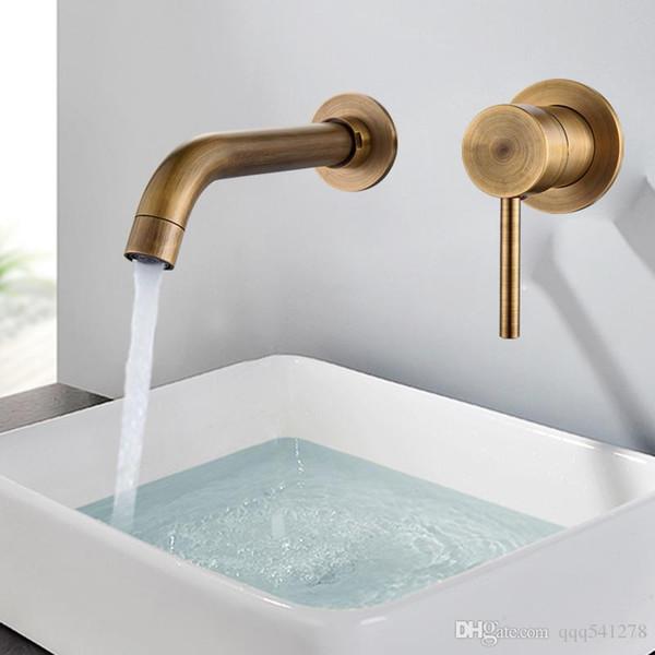 top popular Modern Brass Wall Basin Mixer Tap Bathroom Sink Faucet Swivel Spout Bath Tap Single Lever White Lavatory Sink Mixer Crane 2019
