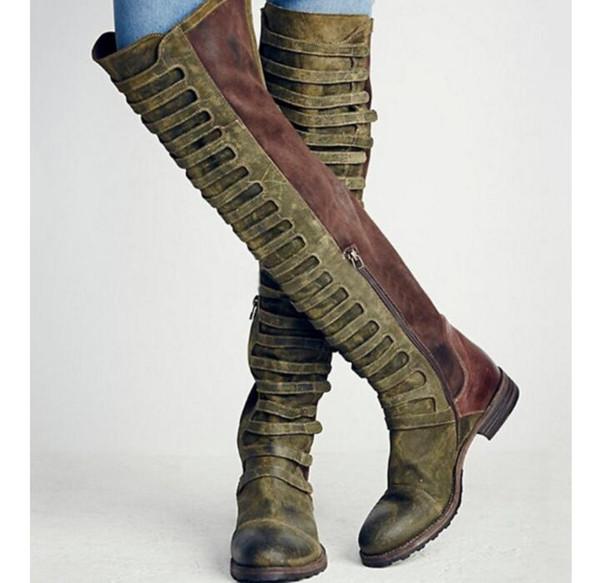 Бедро высокие сапоги женщин осень зима женская обувь ретро искусственной кожи над ботинками колена плюс Botas размер Mujer Chaussures фам