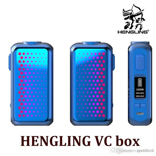 NEW HENGLING 105W VW TC VC box mod with 18650 battery up to 105w TC box mod with changeable flashing led plates Vape mod kit up to 105w