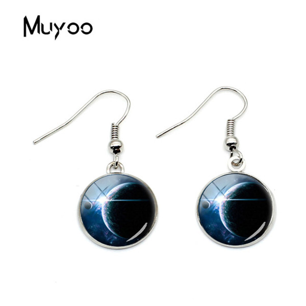 2019 New Fashion Galaxy Space Hook Earring Silver Plated French Lever Back Glass Cabochon Bronze Earrings for Women Jewelry