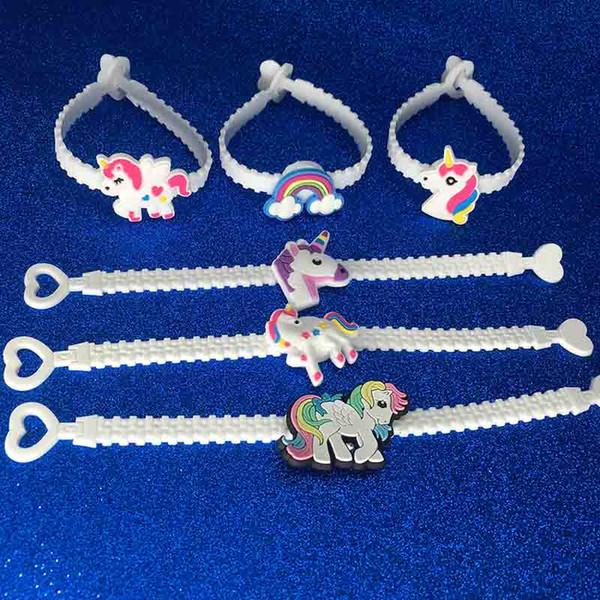 Çocuk Charm Benzersiz Unicorn Bilezikler Kız Erkek doğum günü partisi torba dolgu malzemeleri Çocuklar Bebek Silikon Bileklik Çocuk Oyuncak TARAFINDAN DHL