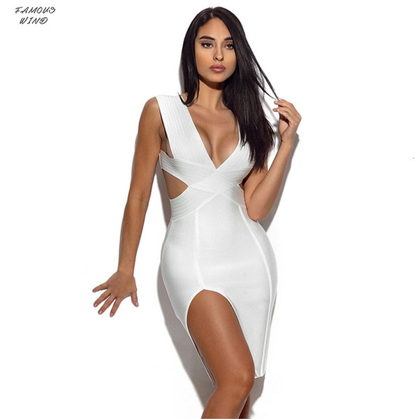 New Bandage Dress Women Sleeveless Knitted Sexy Deep V Summer Plunge Hollow Out Side Slit Cocktail Party Dresses