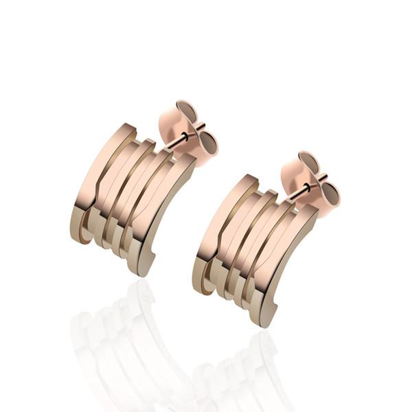 Pendientes Pendientes de primavera de la marca B de acero inoxidable Pendiente de pareja de amor para mujer Pendiente de oreja perforada
