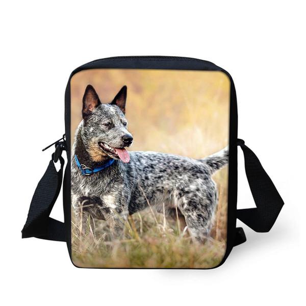 Unisex Okul Çantaları Avustralya Sığır Köpek Tek Omuz Köpek Lover Taşıma Askıları Konfor Cep Öğrencileri için Messenger Çanta