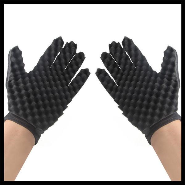 One Piece Hot Curl Sponge Glove Hair Braider Twist Brush Barber Hairdressing Tool Black Solid