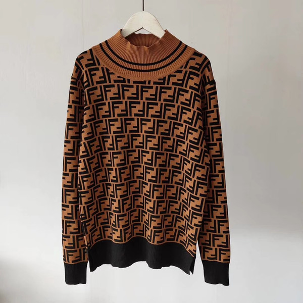good women Sweaters buttons F letters High collar Pullover Jacquard knit Tops with stripes Knitwear blouse shirts outwear