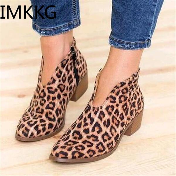2019 leopardo de impresión zapatos de mujer sexy punta estrecha botines cremallera Deep V de tacón alto de la señora zapatos de vestir fiesta A00224
