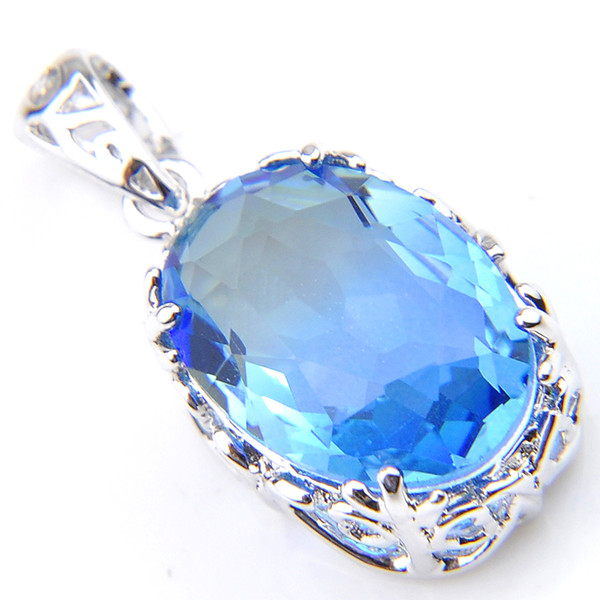 2019 aaaaajewelry Free 12 pcs/lot Luckyshine Holiday Gift Oval Blue Bi-Colored Tourmaline Gemstone 925 sterling Silver Necklace Pendants