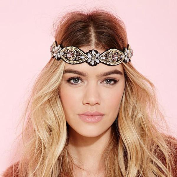 Acessórios bling Feito À Mão Europeus de Luxo Largo Cristal Headbands Strass Bohemian Vintage Banda Cabeça Para As Mulheres Acessórios Para o Cabelo