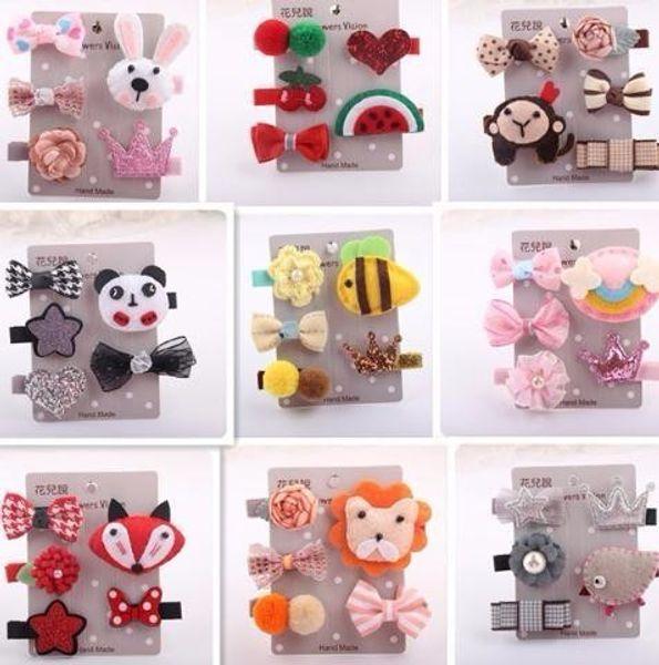 5pcs/set Korean Children's Hair Accessories Set Cartoon Clips All-inclusive Cloth Card Baby Safety Clip