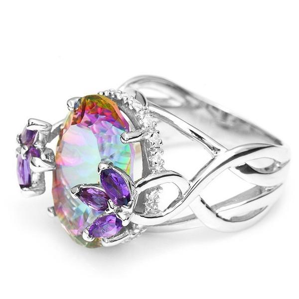 rainbow color zircon rings for women 925 silver plated purple cz zircon wedding engagement rings oval geomstone ring jewlery sj