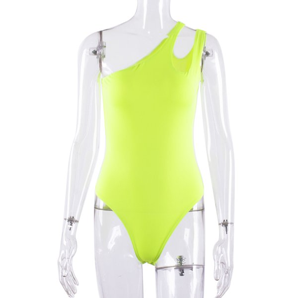 neon bodysuit female One Shoulder jumpsuit neon jumpsuit Sexy sleeveless women clothes 2019 combinaison femme plus size playsuit