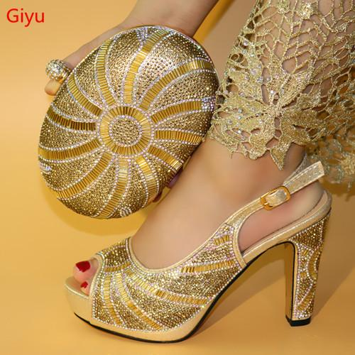 2019 Fashion Rhinestone Gold Color Shoes And Bag Set Italian Pretty High Heels Shoes And Bag To Match Set For Wedding LO1-54