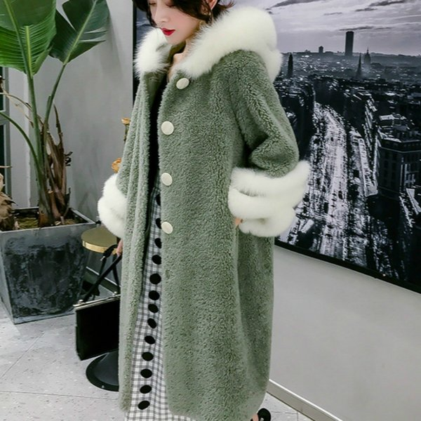 Streetwear Wool Jacket  Fur Collar Real Fur Coat Autumn Winter Coat Women Clothes 2019 Korean Vintage Sheep Shearling ZT3289