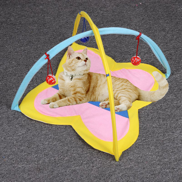 Cat bed In-Outdoor Pet Cat Funny Hammock Bed and Toy Kitten Play Sleeping Furniture Tent Balls Play House Kennels Bell