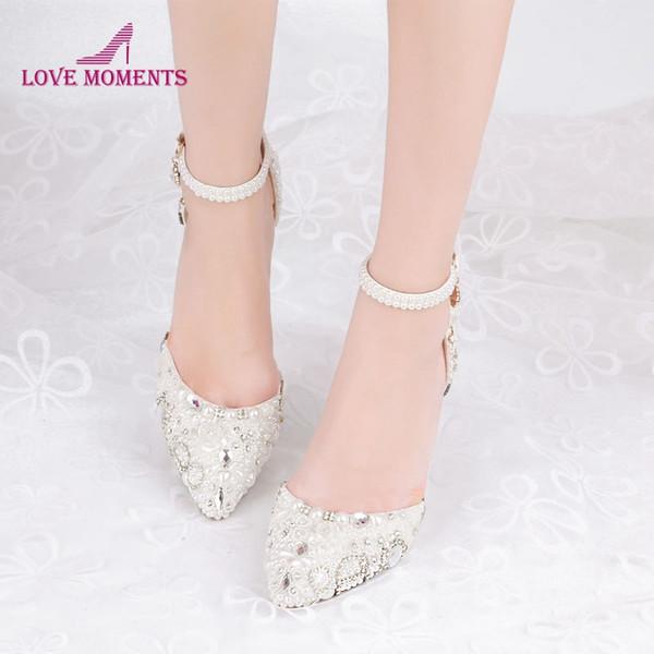 Ayak bileği sapanlar ile 2019 Beyaz İnci Festivali Olay Parti Ayakkabılar 3 İnç Yüksek Topuk Sivri Burun Düğün Gelin Ayakkabıları