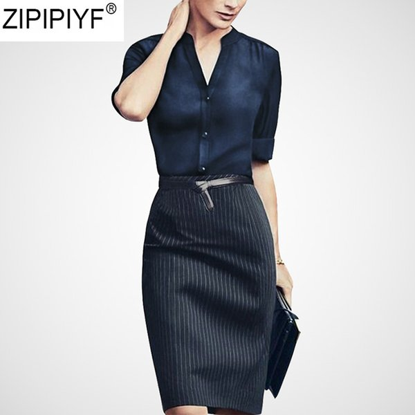 2019 Half Sleeve Office Blouse Shirt Women Two Pieces Sets Slit Pencil Bodycon Skirts Knee-Length striped work Suit Dresses Q915