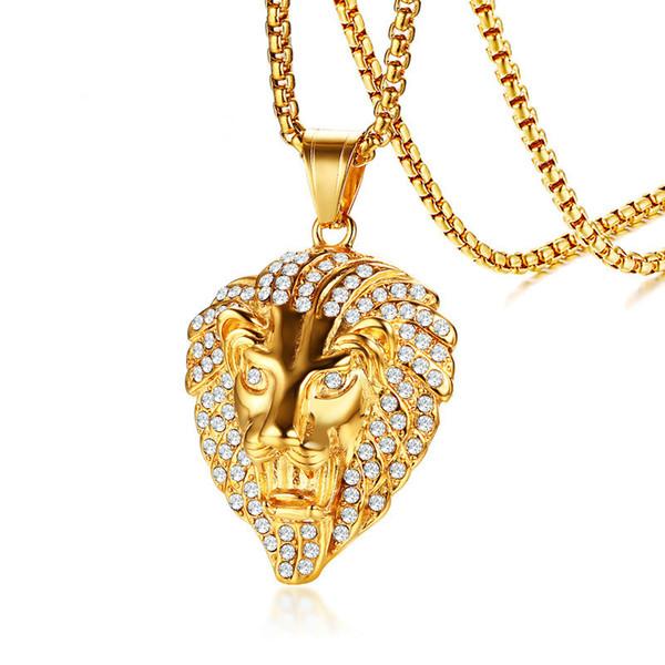 Stainless Steel Gold Color Lion Head Pendant Male Lion CZ Necklace Pendants Men's Fashion Jewelry 60cm Chain