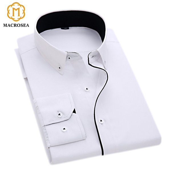 MACROSEA New Arrival Special Design Button Collar Black Line Dress Shirt Men's Business Formal Shirt Solid Color White Buttons #388993