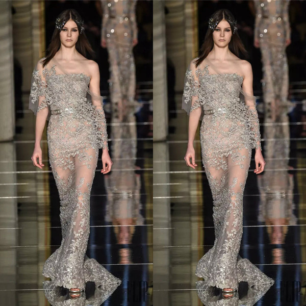 Sexy Zuhair Murad Sheer Evening Dresses Strapless Neck Applique Mermaid Prom Gowns Floor Length Beaded Special Occasion Dress With Wrap