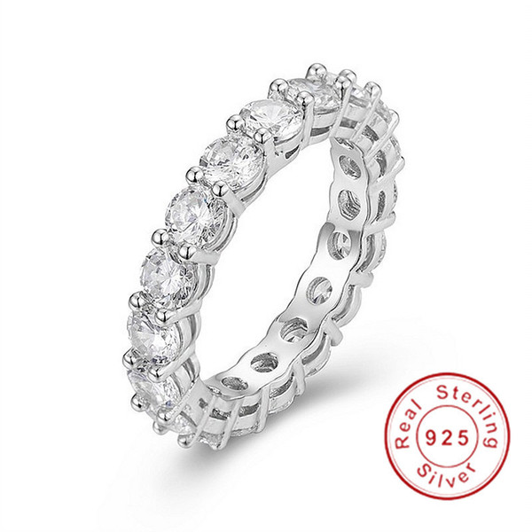 925 Silver Pave Round Cut 4*4mm Full Square Simulated Diamond Cz Eternity Band Engagement Wedding Stone Rings Size 5,6,7,8,9,10 J190706