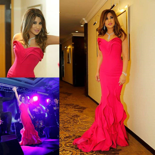 Water Melon Evening Dresses Sweetheart Floor Length Plus Size Mermaid Prom Dress Custom Made Tiered Skirts Formal Party Gowns