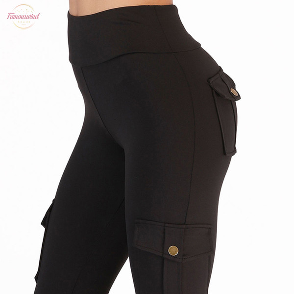 Cintura alta aptidão Leggings Mulheres bolso Leggings Legging Sólidos Push Up Cor Moda Feminina Poliéster Leggings