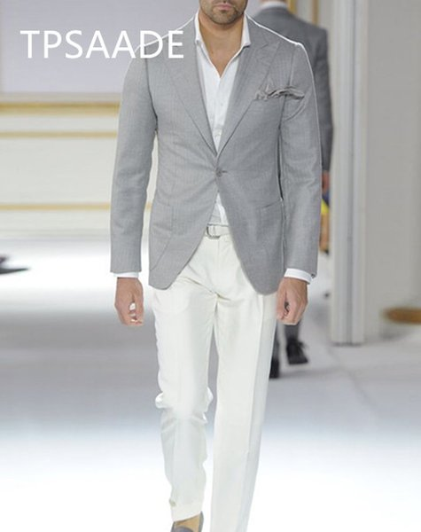 2020 tailored grey men suits peaked lapel blazer casual summer jacket for street business wedding beach male tuxedos 2 pieces