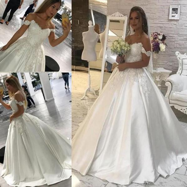 2020 Modest Off The shoulder Ball Gowns Wedding Dresses Lace Appliques Corset Back Sleeveless Bridal Gowns Arabic Plus Size vestido de novia