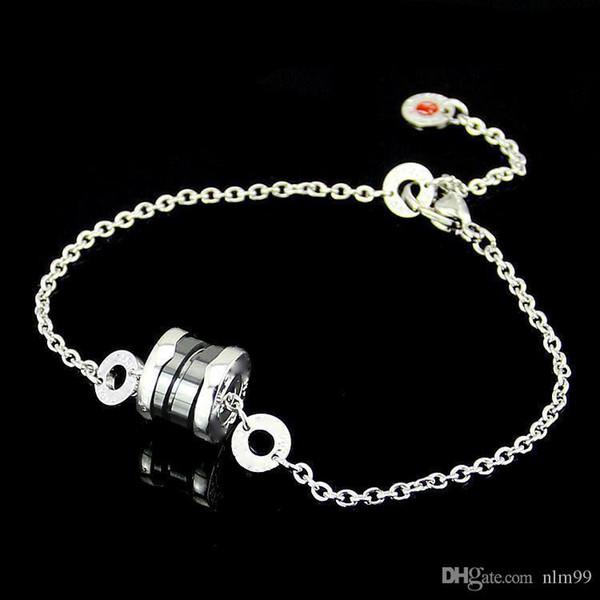 Bracelet couple petit rouge de haute qualité filetage inverse Bronze noir céramique petit rouge bracelet chaîne longueur 20,5 cm de diamètre en céramique 1 * 0.85cm