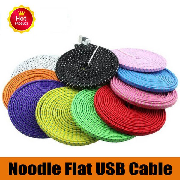 High Quality 1M 2M 3M Flat Noodle braided Charger Cable Fabric Braided Micro USB Charging Data Sync Cord for type-c android