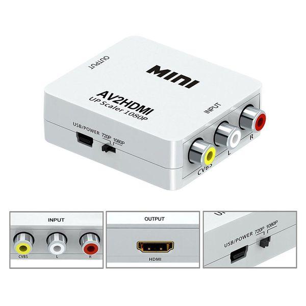 Adaptador de HDMI a RCA CVBS Conversor de video 1080P Adaptador de HDMI2AV Caja de conversión Compatible con NTSC Salida de PAL Adaptador de HDMI a AV