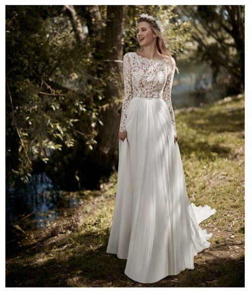 Boho Uzun Kollu Gelinlik 2019 Robe de mariee Vintage Dantel En Yeni Gelin Elbise Şifon Gelinlikler Vestidos De Novia 2020