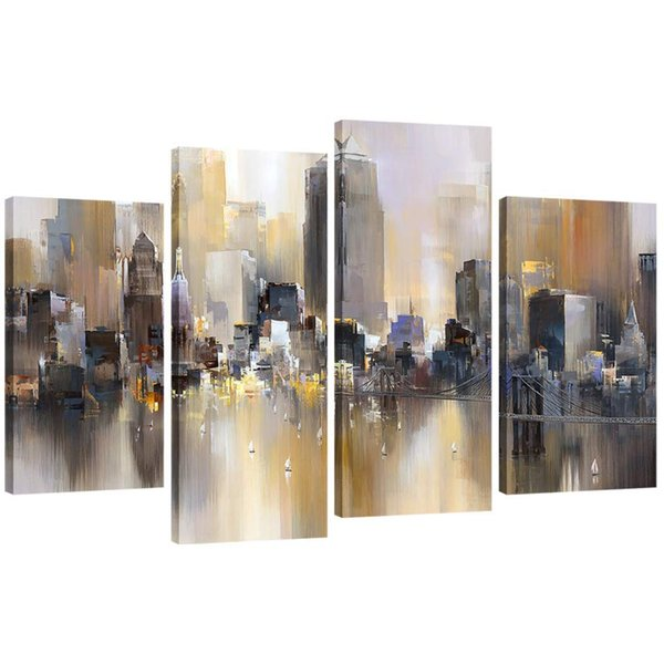 4 Pieces Abstract Canvas Painting New York Colorful City Landscape Picture Printed on Canvas Giclee Artwork Unframed Wall Art For Home Decor