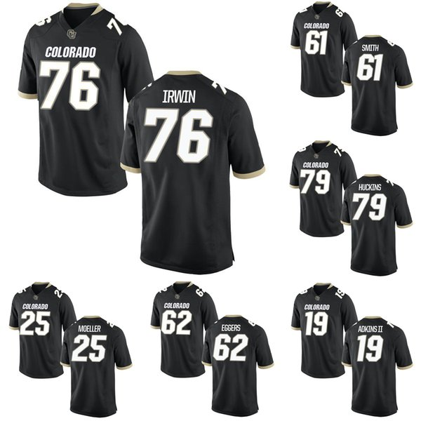 Jeromy Irwin Men's Colorado Buffaloes Michael Adkins II Kolter Smith Justin Eggers Jonathan Huckins Stitched College Football Jersey