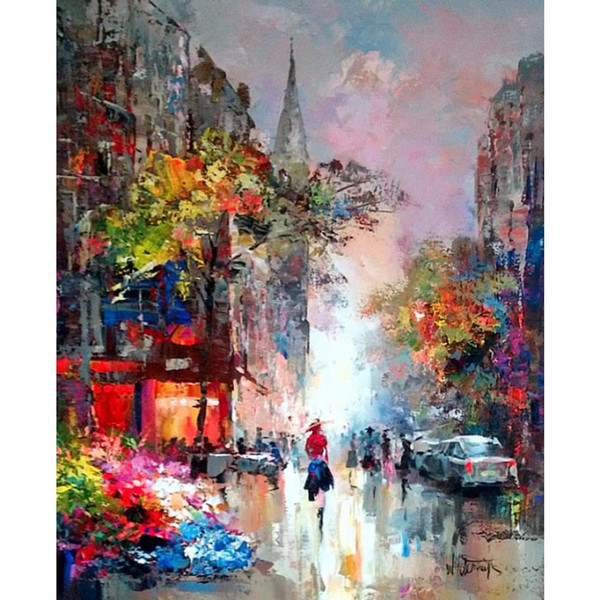 Hand painted oil paintings city Landscapes Street view Willem Haenraets canvas art for wall decor