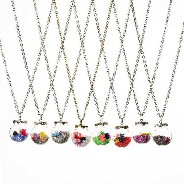 12 colors Crystal Flower Drift wishing bottle ball Necklaces Pendants for women lover locket DIY jewelry DROP SHIP 161545