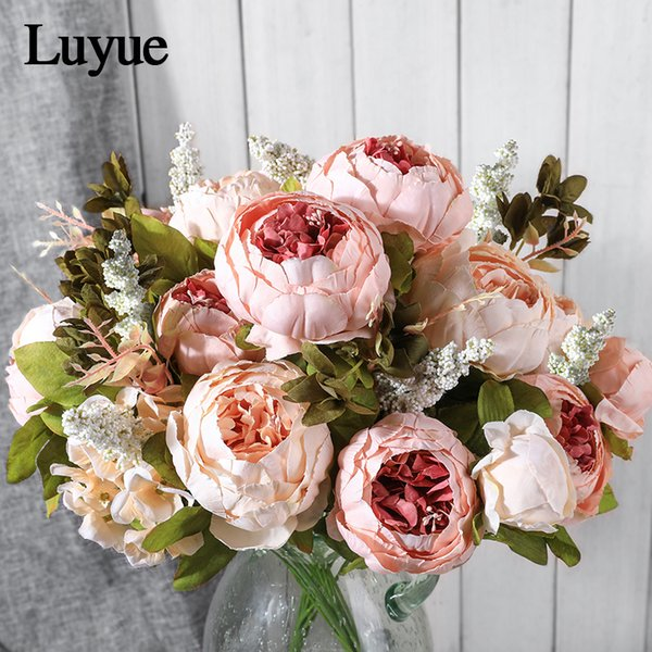 Vintage Seide Künstlich Sonnenblumen Altrosa 6 Köpfe Hochzeits Dekor